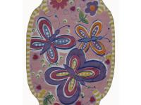 A lovable rug that features three butterflies with