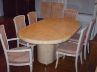LACQUER DINING ROOM SET Pedestal Style Table 6 Chairs