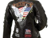 Ladies' Genuine Buffalo Leather Motorcycle Jacket. This