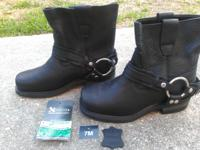 Brand new Ladies Black Motocycle Boots. size 7. never