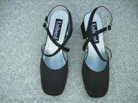 """Ladies black silk shoes 2"""" heel  new"""