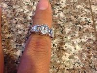 Ladies Blue Topaz/Diamond White Gold Ring. The ring is