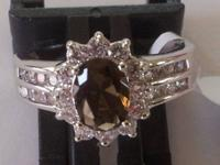 Gorgeous females's brown tanzania ring, sz 8, 10kt