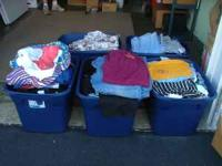 Porch Sale. I have 5 Tubs of ladies clothing. Shirts