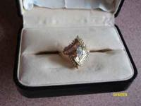14 karat yellow gold ladies engagement ring (total