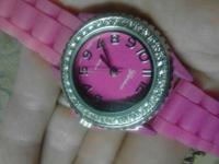 Have one ladies petite pink rhinestone geneva platinum