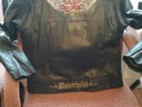 Ladies black embroidered leather Harley Davidson