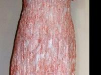 #6605Ladies High Low Lace Maxi DressPull on peach white
