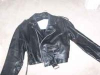 ladies large (fits like a medium) leather biker jacket.