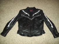 Ladies leather bike riding coat, size big. Excellant