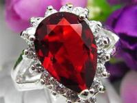 Sensational ladies's pear shape ruby sapphire ring.