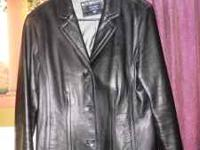 ladies soft leather jacket, blask, size L, 3 buttons 2