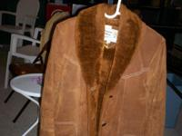 LADIES SUEDE LEATHER JACKET WITH FUR LIKE COLLAR AND