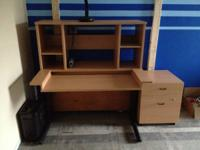 Laminate Desk with Matching Hutch & Filing Cabinet (no