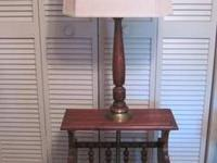 1960's Vintage Amish Style Lamp End Table with Rustic