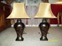 Two matching Lamps for sale with lamp shades. Never