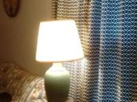 Four lamps...one large blue textured lamp, $10 One