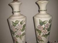 A pair of hand painted table lamps around 50 years old