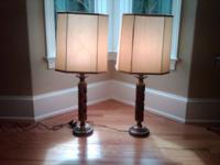 PAIR OF TABLE LAMPS WITH THREE WAY LIGHT SWITCH. THE