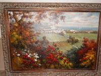 "LARGE GEORGE LIM LANDSCAPE OIL PAINTING - SIZE 86"" BY"
