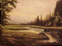 Landscape oil painting on stretched canvas. Painting