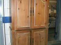 Lane solid pine entertainment center with carved detail