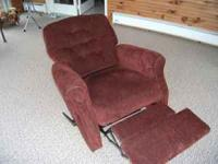 SEE PHOTOS. BURGANDY LANE RECLINER. ONLY 45 DAYS OLD.