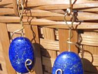 Rich Lapis Earrings Wrapped on a whimsy. Gold plate and