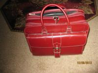Stylish Franklin Covey Red Leather Laptop Brief Case