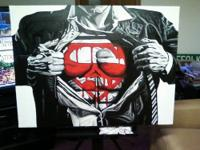Large Hand painted picture of Superman on Canvas. 30""