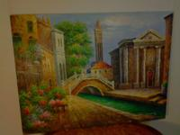 Large Beautiful Signed Painting on Canvas Measurements