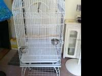 "This Bird Cage stands 59.5"" tall (37.5"" without stand),"