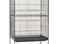 Large bird cage almost new on wheels with free Black