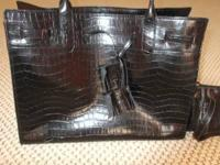Selling a brand new black snake skin design large tote,