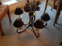 Large five arm metal chandelier with shades. Bronze