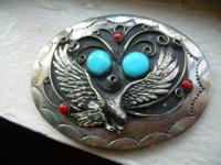 LARGE BUCKLE WITH TURQUOIS-AND CORAL $35.00 SILVER RING