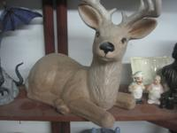 "Large Hand Painted Ceramic Deer. 17"" Long. I-40 Exit"
