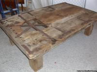 This is a large door that was made into a coffee table