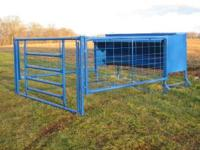 Large 800 lb feed capacity creep feeder. Includes