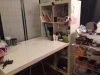 Selling a used Ikea desk with an attached shelf. It has