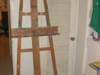 Large well-loved artist's easel...with lots of paint on