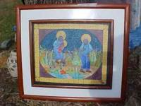 CANVAS PAINTING- MOTHER AND CHILD- NOT SURE? AFRICAN
