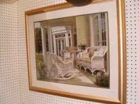 Large Framed & Matted Porch Scene Picture Measures 35""