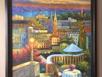 "Large painted city overlook (53""x42""). Beautiful"