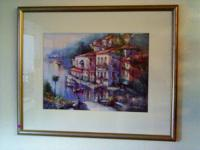 Selling are large framed pictures with a waterfront