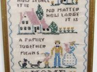 "Beautiful vintage needlepoint sampler  12 1/2"" by"