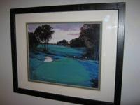"15"" by 1 foot black framed golf course captured print"