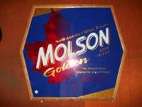 This is a Molson sign approx 3 foot by 3 foot, sign is