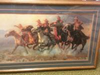 Stunning matted picture Southwestern theme with cowboys