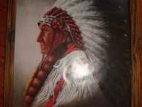 HERE WE HAVE A LARGE CHIEF INDIAN FRAMED PHOTO IN WOOD